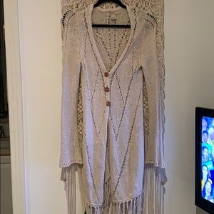 Lucky brand duster with fringe